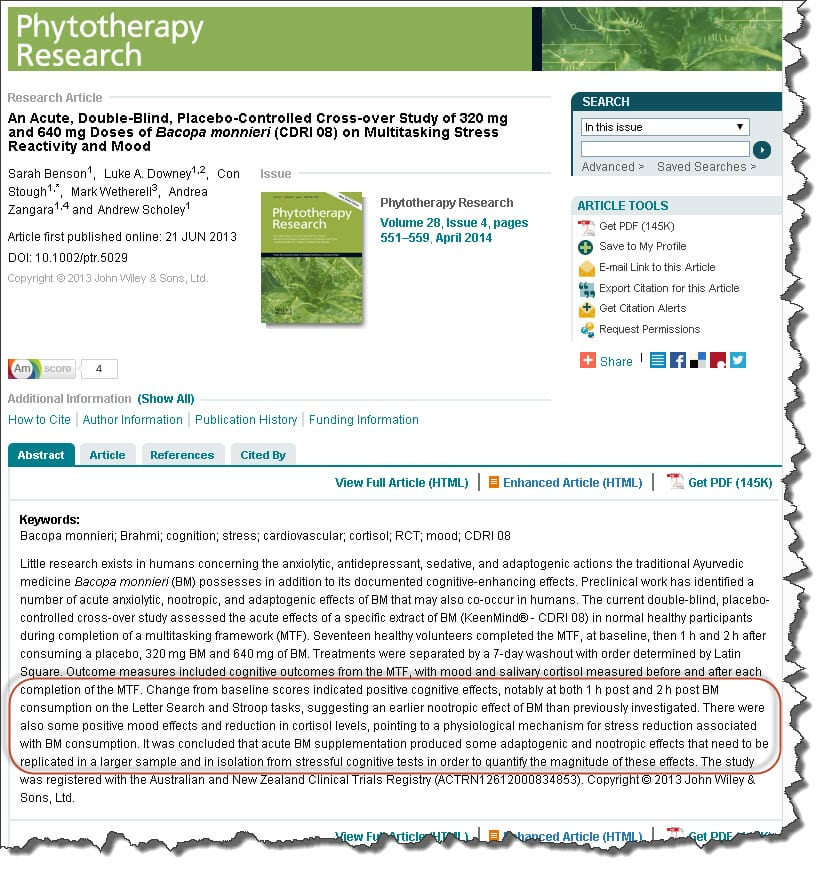 Phytotherapy Research - Doses of Bacopa monnieri (CDRI 08) on Multitasking Stress Reactivity and Mood