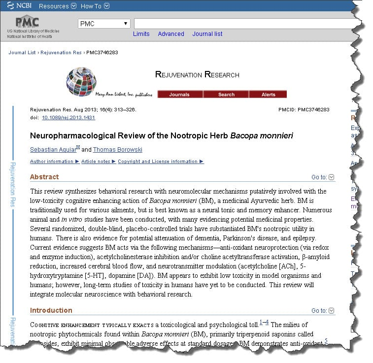 Neuropharmacological Review of the Nootropic Herb Bacopa monnieri
